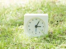 Weiße einfache Uhr auf Rasenyard, 3:05 drei fünf Stockbild