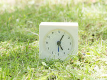 Weiße einfache Uhr auf Rasenyard, 5:05 fünf fünf Stockbild