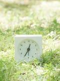 Weiße einfache Uhr auf Rasenyard, 12:35 zwölf fünfunddreißig Lizenzfreie Stockfotos