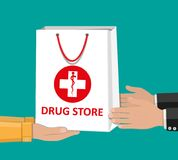 Weiße Einkaufstasche für medizinische Pillen und Flaschen Lizenzfreies Stockbild