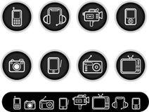 Weiße elektronische Ikonen Stockfotos