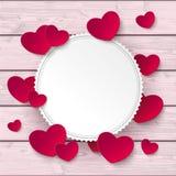Weiße Emblem-Herz-rosa Holz lizenzfreie abbildung