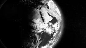 Weiße Erdplanetenhälfte umfasst durch den Schatten, der auf schwarzen Hintergrund, abstrakter wissenschaftlicher Hintergrund sich stock abbildung