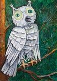 Weiße Eule mit grünen Augen Lizenzfreies Stockbild