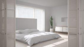 Weiße Falttüröffnung auf modernem skandinavischem unbedeutendem Schlafzimmer, weiße Innenarchitektur, Architektendesignerkonzept, vektor abbildung