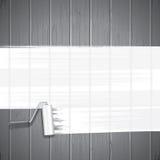 Weiße Farben-Rolle auf Planken-Hintergrund Vektor Stockbilder