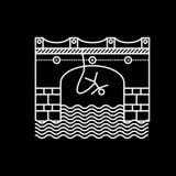 Weiße flache Linie Ikone für das Seilspringen Stockfotografie
