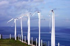 Weiße Flaggen im Wind neben Ozean Stockbilder