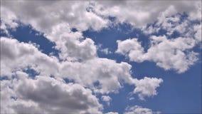 Weiße flaumige Wolken, die einen blauen Himmel im sonnigen Wetter, timelapse weitergehen stock video