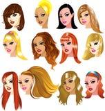 Weiße Frauen-Gesichter Stockfoto