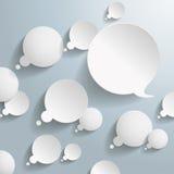 Weiße Gedanken-und Sprache-Blasen Stockfotos