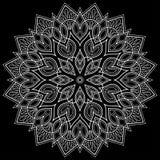Weiße Gekritzelskizze des Mandalamusters lizenzfreie abbildung