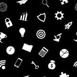 Weiße Geschäfts-Ikonen auf schwarzer Hintergrund-nahtlosem Muster Stockbilder