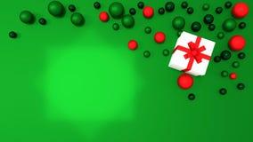 weiße Geschenkbox 3d gebunden mit einem roten Satinbandbogen Lizenzfreies Stockbild