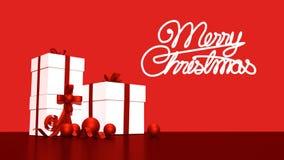 weiße Geschenkbox 3d gebunden mit einem roten Satinbandbogen Auf weißem Hintergrund Lizenzfreie Stockfotos