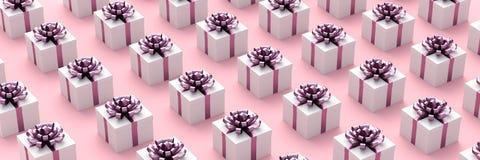 Weiße Geschenkkästen stockfotos
