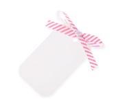 Weiße Geschenkmarke mit diagonalem Satinfarbbandbogen---mit Ausschnitts-PA Stockfotos
