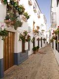 Weiße gewaschene Häuschen mit Fensterkästen Lizenzfreies Stockfoto