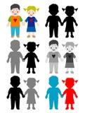 Weiße glückliche Kinder der Farbe und des Schwarzen Lizenzfreies Stockfoto
