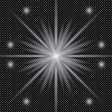 Weiße glühende helle Explosionsexplosion mit transparentem Vektorillustration für kühle Effektdekoration mit Strahl funkelt Helle Stockfoto
