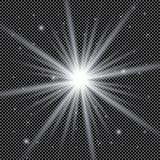 Weiße glühende helle Explosionsexplosion mit transparentem Vektorillustration für kühle Effektdekoration mit Strahl funkelt Helle Lizenzfreie Stockfotos