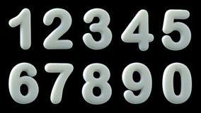 Weiße glatte Zahlen, Illustration 3d Lizenzfreie Stockbilder