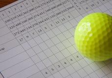 Weiße Golf-Spielstandskarte und gelber Ball stockfotos