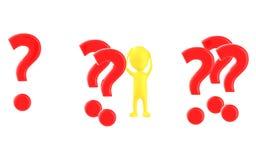 weiße Hände des Charakters 3d auf dem Kopf, sorrounded durch Fragezeichen vektor abbildung