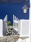 Weiße hölzerne Tür Stockfoto