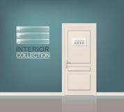 Weiße hölzerne Tür Stockfotos