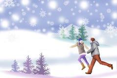 Weiße Hügel des verschneiten Winters und Paare - grafische Malereibeschaffenheit Stockbild