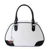 Weiße Handtasche mit den Schwarzgriffen lokalisiert auf weißem Hintergrund Stockbilder