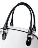 Weiße Handtasche mit den Schwarzgriffen lokalisiert auf weißem Hintergrund Lizenzfreies Stockbild