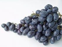 Weiße Hintergrundnahaufnahme der blauen Trauben Stockfotografie