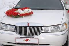 Weiße Hochzeitslimousine Stockfoto