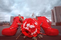 Weiße Hochzeitsschuhe Lizenzfreie Stockfotos