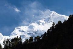 Weiße hohe schneebedeckte Berge von Nepal, Annapurna-Region Stockbilder
