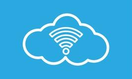 Weiße Ikone Coud WiFi auf blauem Hintergrund lizenzfreie abbildung
