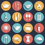Weiße Ikonen der Küche eingestellt mit Schatten Stockbilder