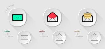 Weiße Ikonen-E-Mail Lizenzfreie Stockfotos