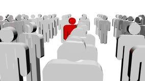 Weiße Ikonenleute und ein rotes in der Mitte Konzept der Führung lizenzfreie abbildung
