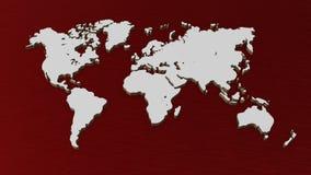 Weiße Illustration der Weltkarte 3D lokalisiert auf weißem Hintergrund lizenzfreies stockbild