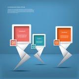 Weiße infographic Elemente mit modernen Pfeilen Stockfoto