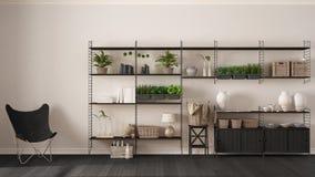 Weiße Innenarchitektur Eco mit hölzernem Bücherregal, diy Vertikale GA stockfoto
