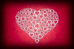 Weiße Inner-Auslegung auf rotem Liebes-Hintergrund lizenzfreie abbildung