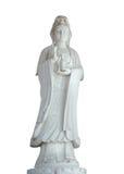 Weiße Jadestatue chineses weiblichen Gottes lokalisierte Beschneidungspfad Lizenzfreies Stockbild