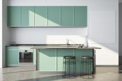 Weiße Küche, grüne Countertops, Plakat Stockfotos