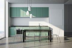 Weiße Küche, grüne Countertops, Plakat, Stühle Lizenzfreie Stockbilder