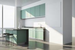 Weiße Küche, grüne Countertops, Plakatseite Stockfotografie