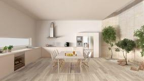 Weiße Küche mit innerem Garten, minimale Innenarchitektur Lizenzfreie Stockfotos